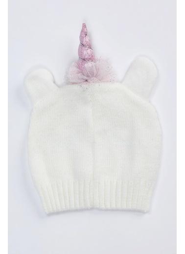 DeFacto Kız Çocuk Unicorn Triko Bere Beyaz